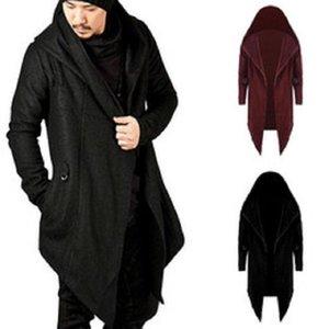 Uomini incappucciati Felpe Nero Hip Hop Mantello hoodies di modo del rivestimento lunghi cappotti Outwear vendita calda Maniche Mantello dell'Uomo