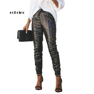 Echoine Moda Mujer Lentejuelas Pantalones Largos Lápiz Elástico de Cuero de Cintura Alta Cordón Negro Partido Señoras Pantalones Streetwear MX190716