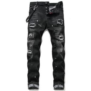 Erkek Moda Denim Uzun Kalem Pantolon Yan Çizgili Erkek Kot Elbise Erkek Siyah High Street İnce Biker Jeans Ücretsiz Kargo Ripped