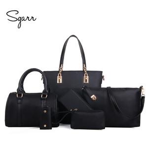 Sacchetti di spalla della borsa delle donne di lusso di Sgarr di modo di nylon 6 pezzi imposta composito borse di grande capacità tote bag per le donne frizione Y19061301