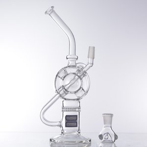 10.6 Galss Bong Swimming Ring and Honeycomb Perc Oil Burner Dip Rig with 14mm Bowl for Hookahs chicha