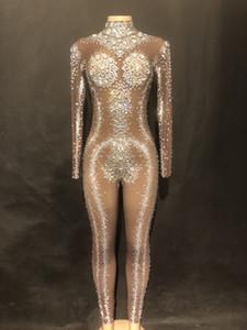 Traje de cumpleaños de las mujeres Diamantes de imitación brillantes Estirar Marrón Mono Club nocturno Celebrar Traje Cantante femenina Piedras de baile Usar