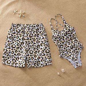 Swim Men Boy Dad Son Beach Shorts Mãe Filha Bikini Girl Mulheres One Piece Swimsuit leopardo família Matching Swimwear