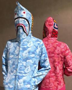 Nouveau Automne Mode Hommes Femmes CCotton Casual Grande Taille Lâche Rose Bleu Camo Imprimé Hoodies Adolescent Personnalité Cardigan Zipper Hoodies