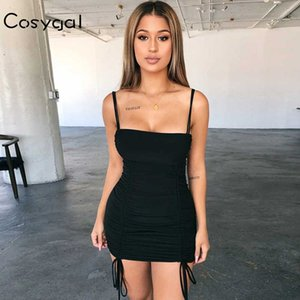 COSYGAL Spaghetti Strap manches plissées Mini robe moulante sexy solide Robes Femmes Night Club Party Robes Robes