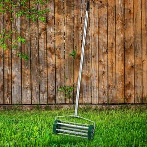 Rolling Lawn Aerator Heavy Duty Grass Cutter Roller Spike Garden Scarifier