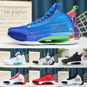 Top quality Jumpman XXXIV 34 Blue Void Sports Basketball Shoes authentic 34s Bright amber White mint green Orbital red Designer Sneakers