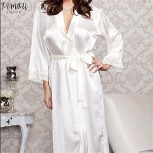 Del cordón de seda atractivo del Faux de raso larga túnica nueva de la manera del camisón del sueño Vestidos Correa femenina de las mujeres sin bañarse Batas color sólido
