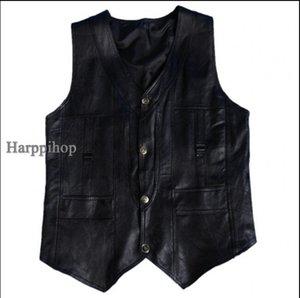 Harppihop Мужчины подлинной овчины кожаный жилет весной и летом жилет мех мужской натуральная кожа плюс размер 5XL 6XL бесплатная доставка