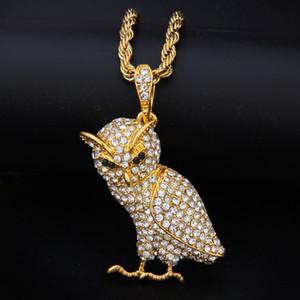 Qualität Mikro-Intarsien Zirkon Owl Legierungs-hängende Halsketten-Kristalltier Charm Halskette Edelstahl Twist Kette Herren Designerschmuck