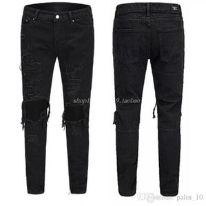 Good quality Black Pants for Men Hip Hop Rock Holes Ripped Jeans Biker Slim Fit Zipper Jean Denim Pants Trousers