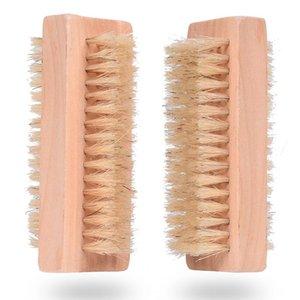 Ahşap Tırnak Fırçası İki Doğal Domuz kıllar Ahşap Manikür Tırnak Fırçası SPA Çift Yüzey Fırça El Temizleme Fırçalar 10cm FFA2840 taraflı