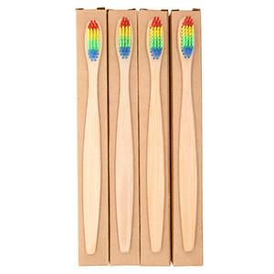 Renkli Kafa Bambu Diş Fırçası Toptan Çevre Ahşap Gökkuşağı Bambu Diş Fırçası Oral Bakım Yumuşak Kıl kraft kutusu