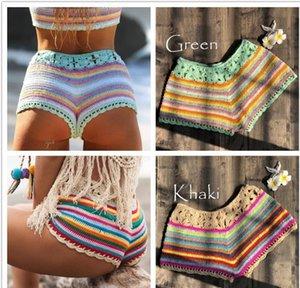 2019 New Women Rainbow Knit Crochet Shorts Sexy Beach bikini swimwear cover ups Shorts Ladies Summer Mini Short Bottoms cover up T200601