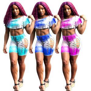 Summer Women Hollow Tracksuit Chest Wrap + Shorts 2 Piece Set Sweatuit Bodycon Sportswear Outfit Outfit colorati Plus Size Abiti 854
