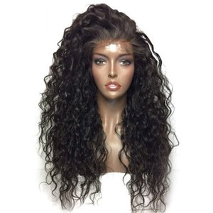 Wholesale Top Quality Black Long Kinky Curly Cheap Wig with Baby Hair Heat Resistant Glueless Synthetic Lace Front Wigs for Black Women