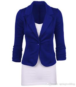 Stock MisShow femmes Boutons Blazers et vestes One Piece Haut Bas Design Demi manches Slim Costume Bureau Bandage Retour Femme FS1677