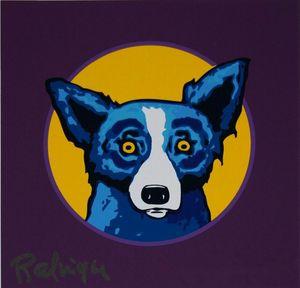 # A072 George Rodrigue Blue Dog Bullseye Home Decor Artisanats / HD huile d'impression Peinture Sur Toile Art mur toile Photos 200113