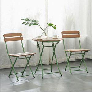 Кофейня стол и стул на открытом воздухе из пластика дерева складной из трех частей простой западной ресторанной мебели мебель для отдыха балкон
