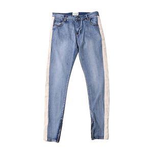 High street bande laterali piede fascio cerniera aperta attillati pantaloni denim jeans uomo maschile 2019