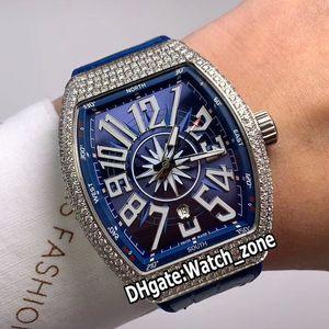Precio especial Vanguard de Nueva Saratoge V45 SC DT Yachting OG Esfera Azul de cuero para hombre reloj automático bisel de diamantes relojes correa de color azul Watch_Zone