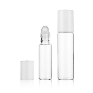 Empty 5ml 10ml Transparent Glass Roll On Bottle glass Roller Ball Cosmetic Perfume Essential Oil Sample Refillable Bottles F2077