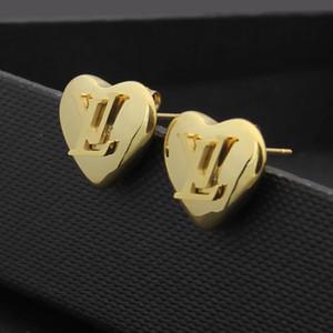 qualidade superior NOVA requintado diamante redondo Carta brincos Moda simples de ouro 18K Aço inoxidável brincos