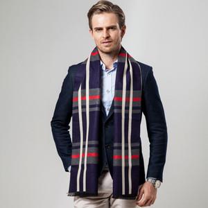 2018 Novo Estilo Moda Homens de Negócios Cashmere Scarf Plaid Pescoço Enrole outono inverno quente Xmas presente Moda Set