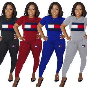 Women casual Sweatsuit leggings two piece set short sleeve t shirt+skinny pants letter print Outfits summer clothing sports jogger suit 623