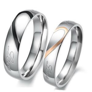 Anelli coppia a forma di cuore Puzzle Titanio amanti anello d'argento placcato d'acciaio di titanio Wedding Ring