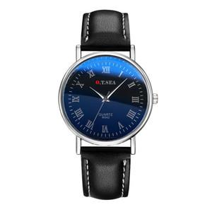 Correa de cuero reloj de pulsera Hombres Mujeres Negro Banda de los números romanos del reloj de cuarzo reloj de pulsera de señoras WATHCES niñas Relogio Masculino