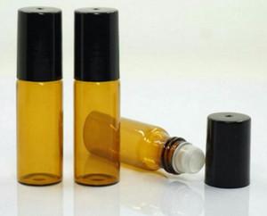 300 x 5 ml de alta qualidade Mini Âmbar rolo de vidro no frasco com Preto / Plastic ouro Bola de vidro Tampas