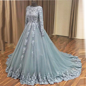 Elegant Gray Blue Long Sleeves Evening Dress Women Event Occasion Maxi Gown Custom Made Lace Tulle Prom Dress Vestidos de Festa Appliues