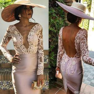 2020 Sheer Pink Madre de los vestidos de novia para la boda V cuello manga larga mujeres vestido más tamaño vestidos de noche