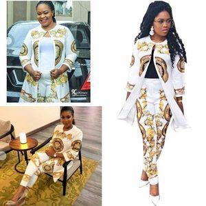 Navio livre 2019 Mulheres Moda Ouro Impressão Longo Manto + Calças de Duas Peças Define Casual Outfit 2 Pcs Terno XXXXL