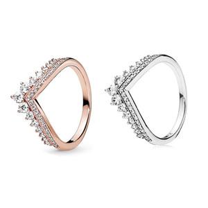 CZ elmasla Pandora 925 gümüş için 2019 yeni prenses dilek halka altın kaliteli cazibesi bayanlar halka gül