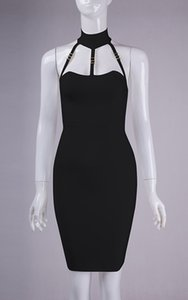 Black white new bandage sleeveless knees dress cocktail party dress wholesale and retail HL5166 Dress + suit