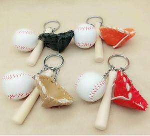 Creative Gant de baseball mode Keychain de baseball clé Pendentif bâton Fan Keychain Cartable Accessoires Sport souvenir 4 styles