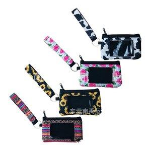 여성 패션 ID 카드 홀더 가방 네오프렌 레오파드 해바라기 암소 꽃 무늬 동전 지갑 다기능 열쇠 고리 지갑 파티 호의 6 5ny E19