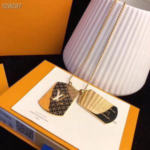 브랜드 커플 목걸이 패션 펜던트 목걸이 14K 티타늄 스틸 도금 목걸이 선물 상자 포장