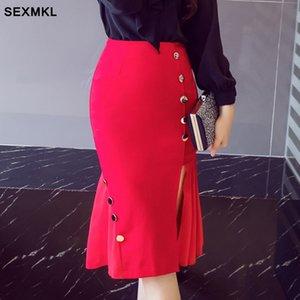 SEXMKL Плюс размер юбки женщин лета 2020 Мода Sexy высокой талией юбка красный SAIAS Feminina офис дамы черный карандаш юбка