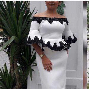 HGTE Women's Lace Ruffle Top + Half Skirt Set One shoulder trumpet sleeve business suit Tight pencil half skirt large size suit CX200701