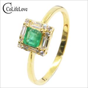 Royal design argento smeraldo anello 4 mm * 4 mm Princess Cut naturale Columbia smeraldo Solido argento 925 anello smeraldo per donna