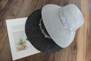 Sun shade female chun xia day silver silk chimney bell hat Hepburn socialite elegant big eaves street vacation zy23