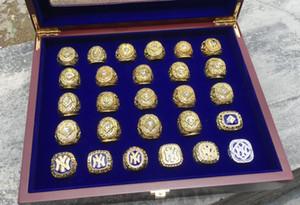 27PCS Yankees equipo de béisbol Alrededor de Campeones Campeonato anillo con caja de presentación de madera recuerdo Ventilador muchacho de los hombres del regalo del deporte al por mayor de 2020