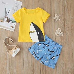 Moda meninos Vestuário Criança Meninos crianças manga curta Sharks Imprimir Tops + Shorts Outfits Set 2pcs Criança Kids Clothing Set