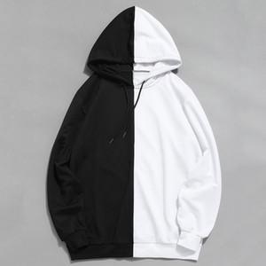 Sudaderas con capucha de manga larga para hombre Capucha Medio negro Medio blanco Cool Hoddies liso Hombres Patchwork Sudadera de algodón Sudadera con capucha masculina Moda Mujer SH190905
