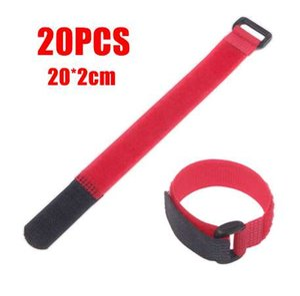 Mayitr 20Pcs 20cm Red Nylon autoadhesivo Sujetador Correa Reutilizable Hook Loop Cable Ties Cord Organizer