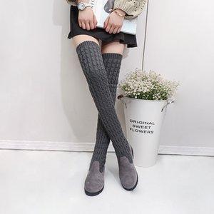BORRUICE neue Frau flacher Schuh Strick Lange Stiefel mit Samt Warm Damen halte Winter-Schenkel-hohe Aufladungen über das Knie Schwarz