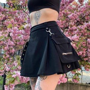 Y Demo gothique jupe taille haute ceinture de poche femmes Noir A-ligne Jupes